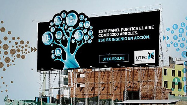 purifying billboard in Peru