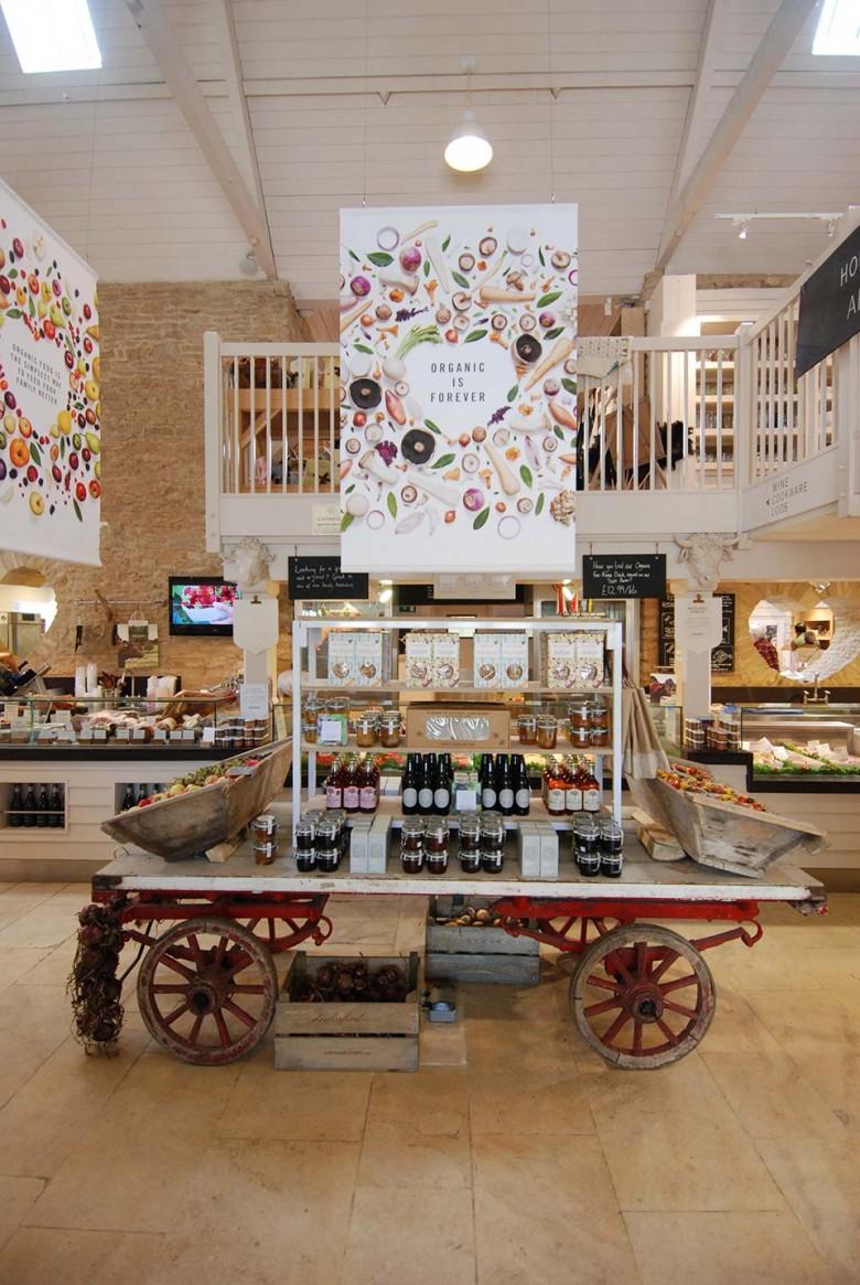 Inside Dayelsford Farm store, Organic food display