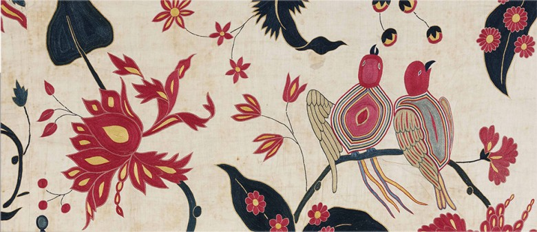 Indian festival banner with birds and pink flowers