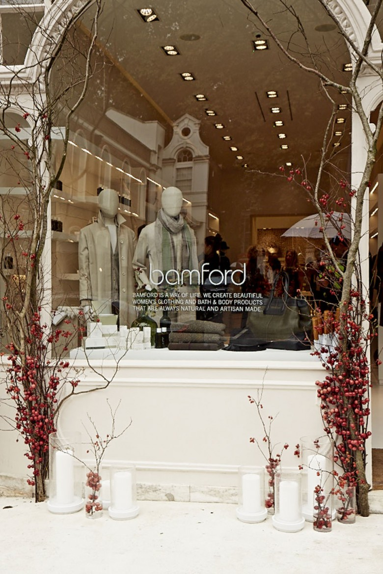 A view through the shop window at the new Bamford store in South Audley Street