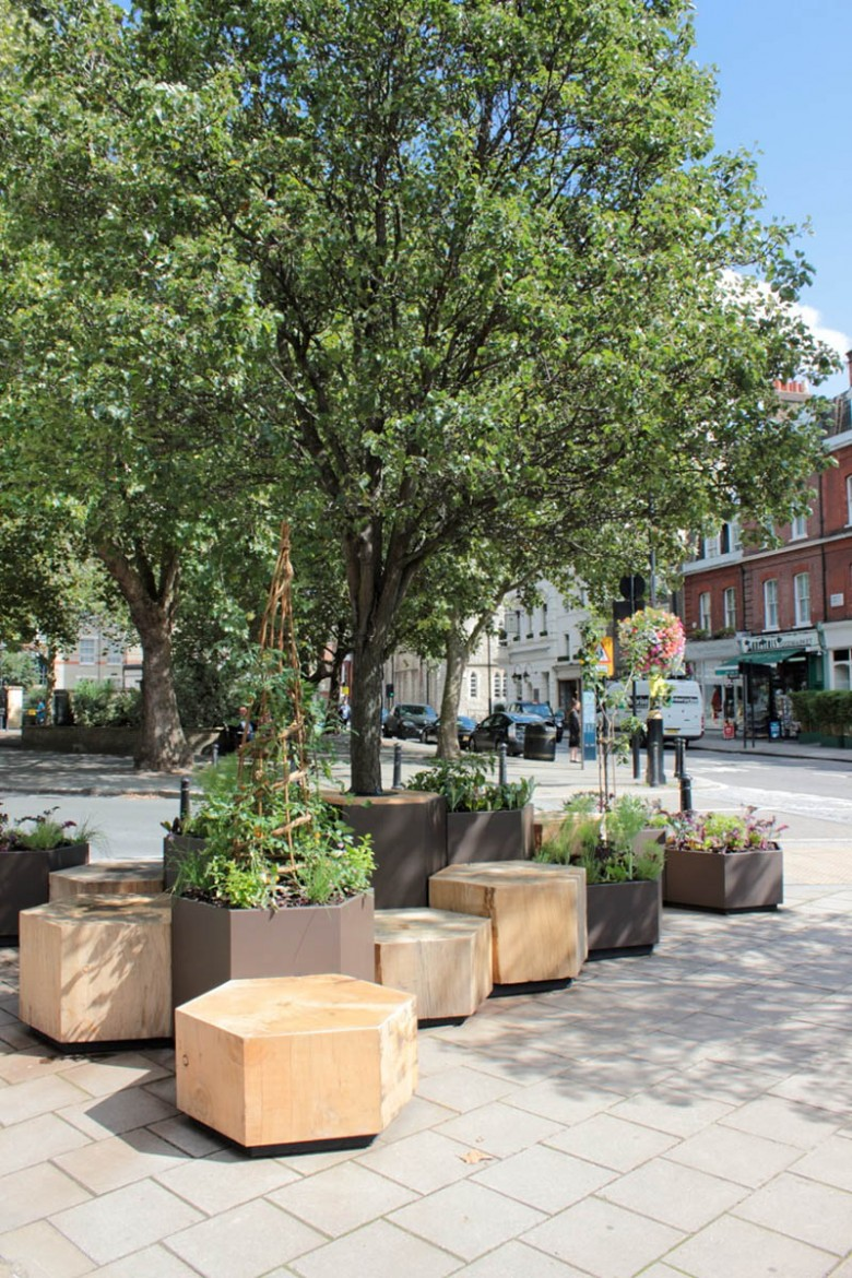 A view of the new urban garden outside the new Daylesford store on Pimlico Road.