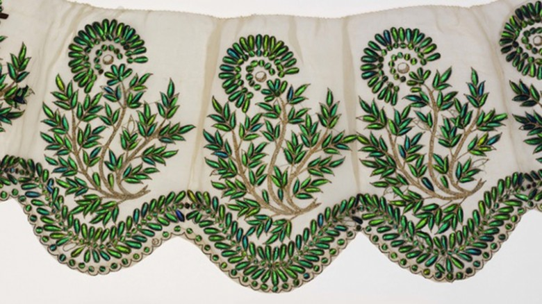 Indian fabric with a green leaf pattern