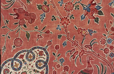 Pink Indian fabric with pink birds and blue flowers
