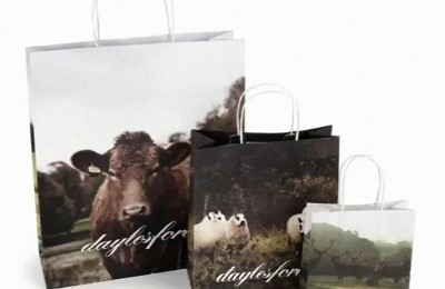 A collection of eco-friendly, paper shopping bags from Daylesford