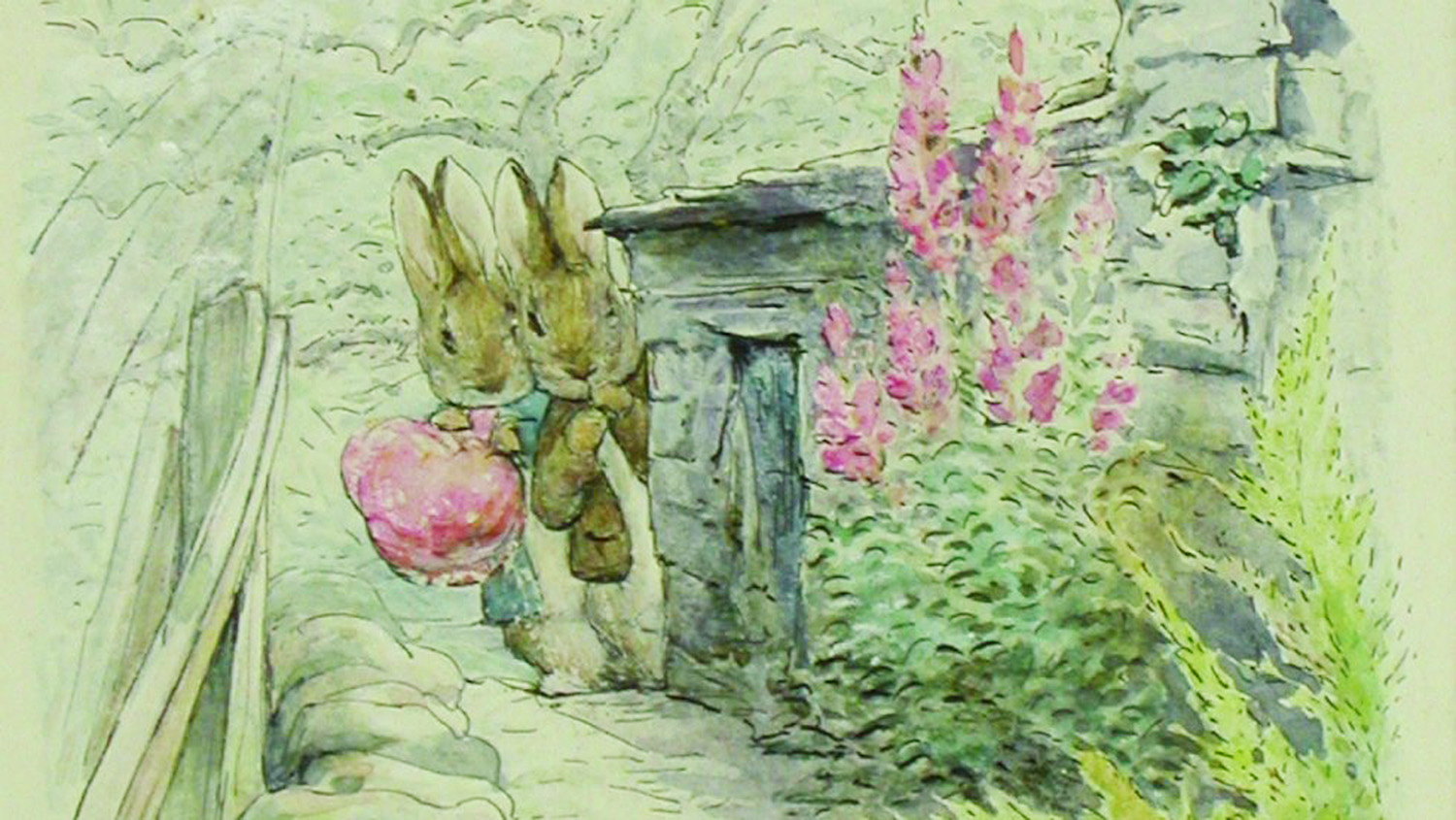 Painting of 2 bunny rabbits by Beatrix Potter