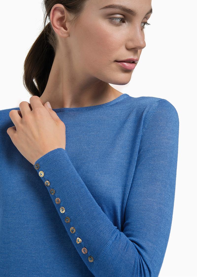 button cuff sweater indigo