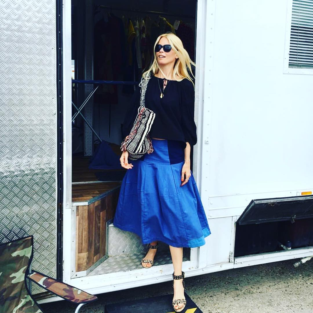 Beautiful Claudia on set in bamford indigo jail summer skirt @claudiaschiffer @bamfordjournal