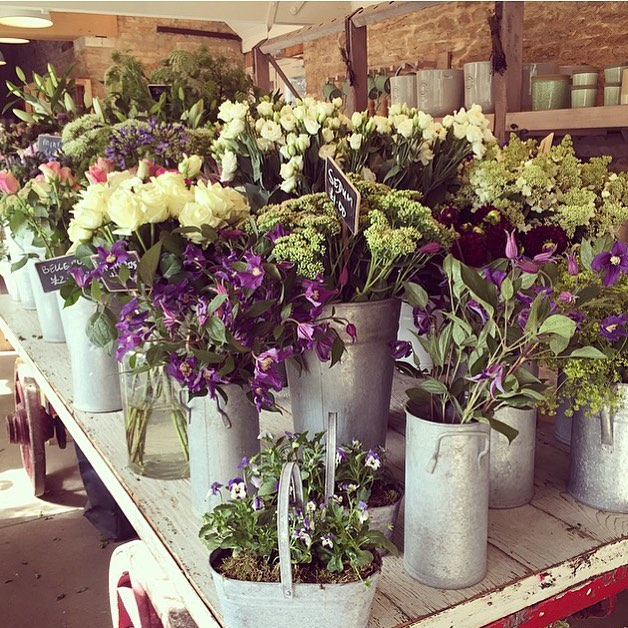 The Garden Room full of flowers, ready for today's children's floristry class at the farm #floristry #children #nature #summer #holidays #cotswolds @daylesfordfarm