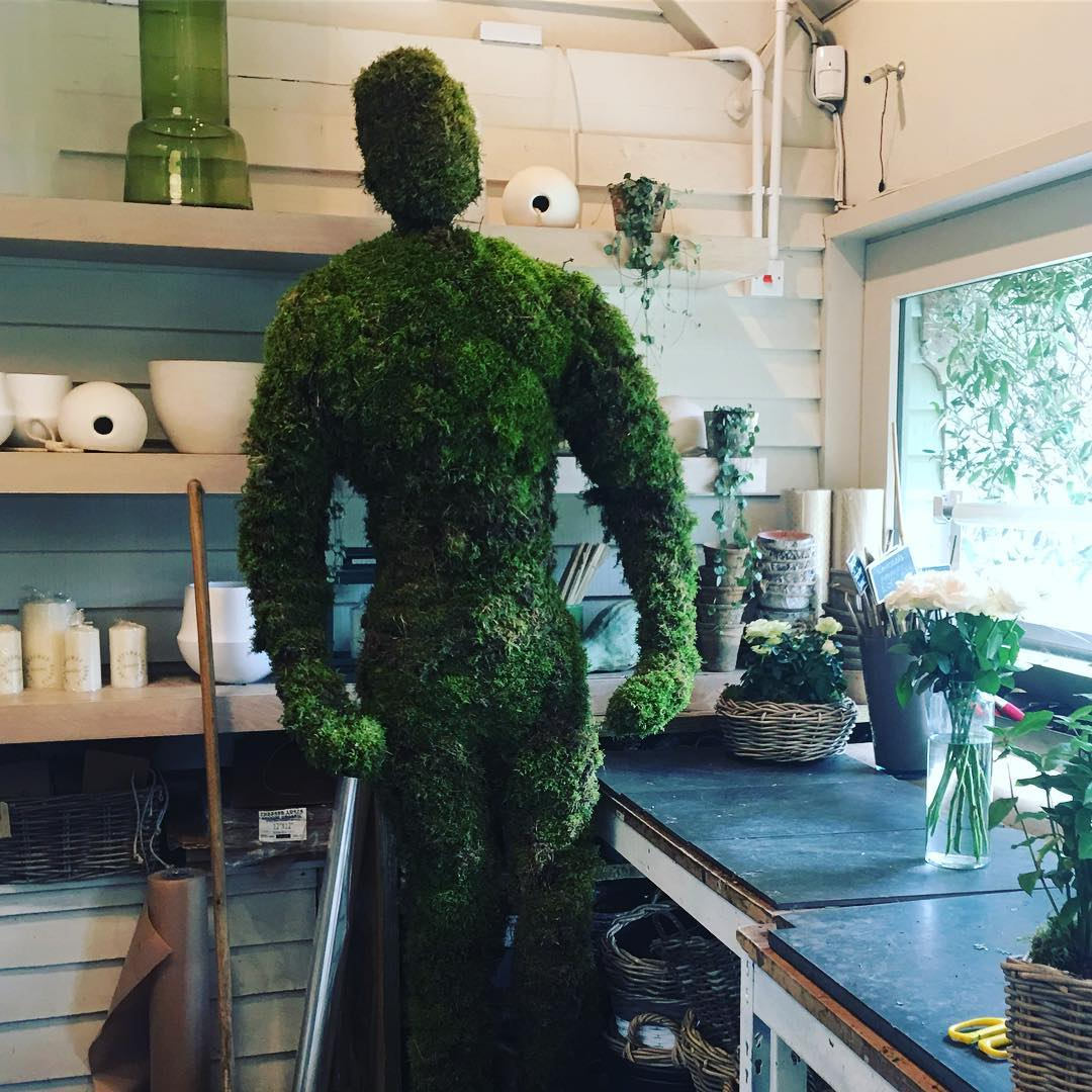Good morning Mossy in the garden room @daylesfordfarm #mosssculpture