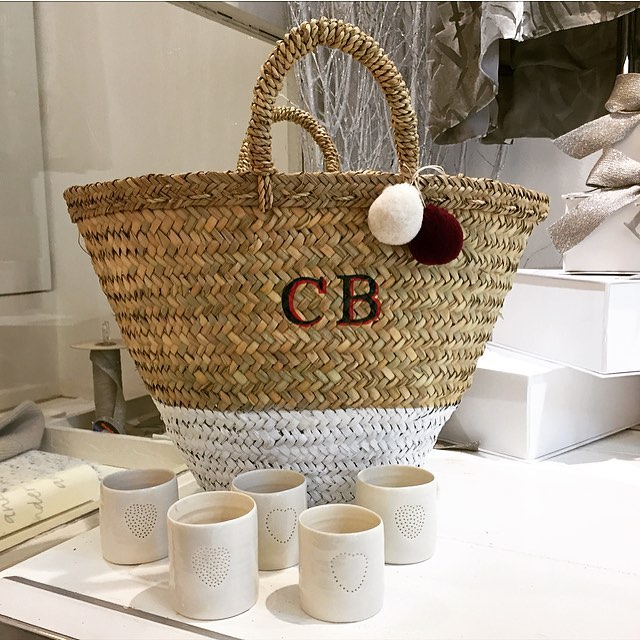 Love my new basket bag, monogrammed by Rae Feather for Bamford @bamfordjournal @raefeather #monogrammed #pompom #basketbag #christmas #gift #artisan #personalised #draycottavenue #cotswolds #online
