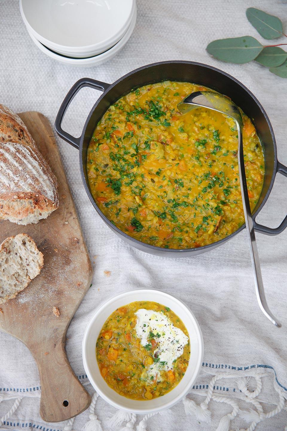 Spiced Pumpkin Red Split Lentil & Turmeric Soup