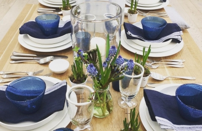Blue and white in the homeware barn #spring #tableware #ceramics #linen #glass @daylesfordfarm