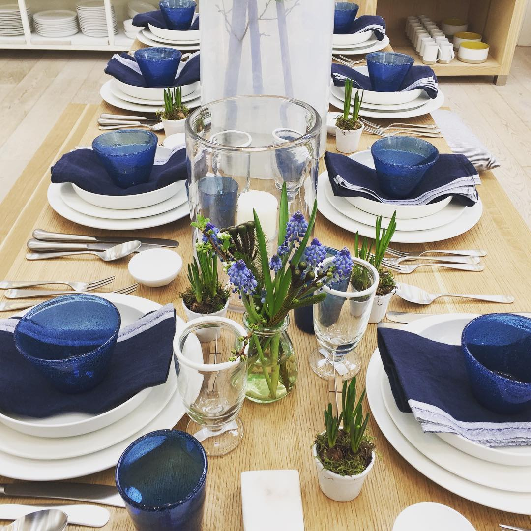Blue and white in the homeware barn #spring #tableware #ceramics #linen #glass @daylesfordfarm