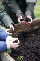 children potting plants
