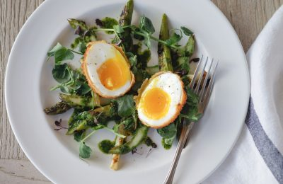 Chargrilled Asparagus with Deep Fried Egg & Pea Shoots
