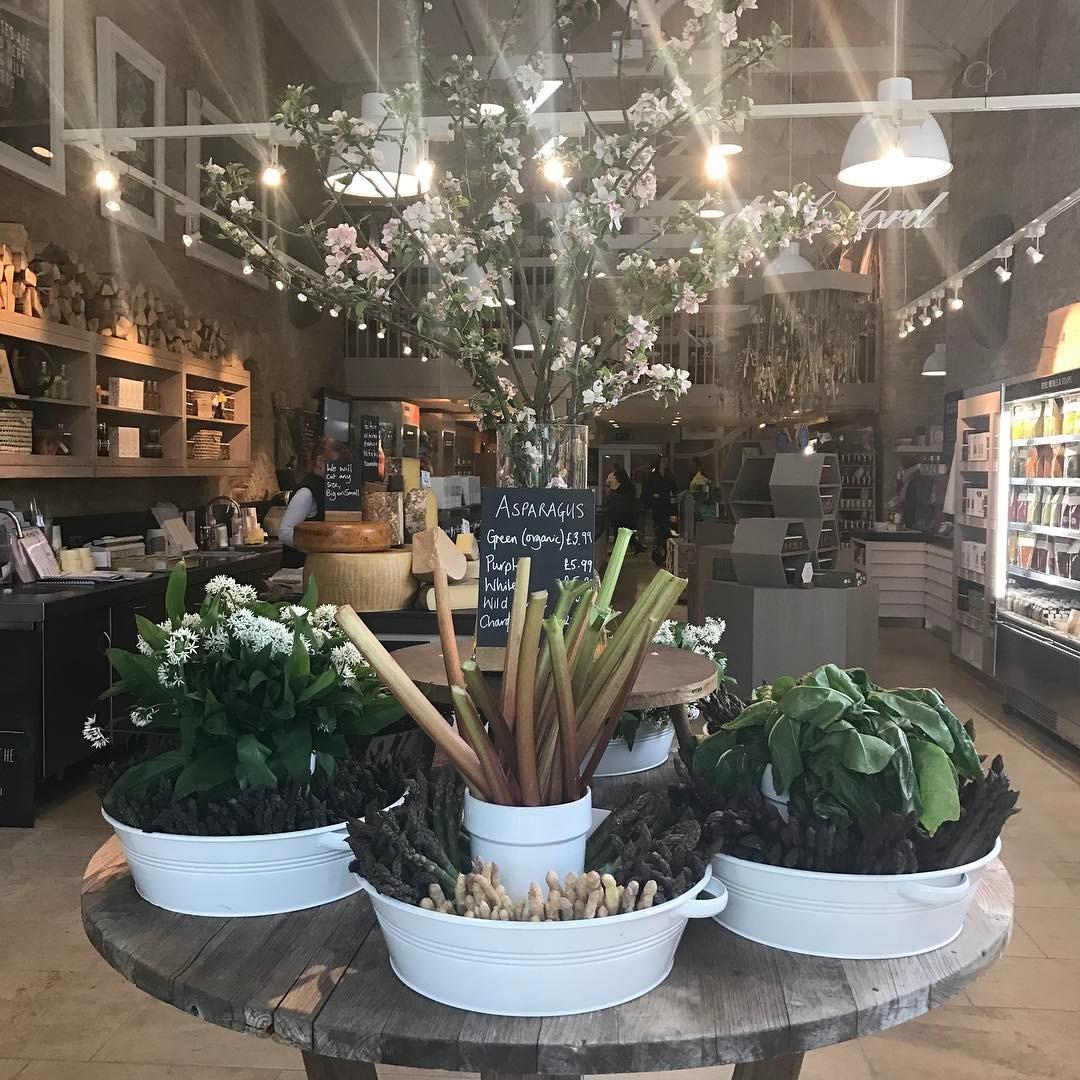 Fresh asparagus wild garlic and rhubarb in the new entrance @daylesfordfarm #organic #seasonal #eattobehealthy #wellness