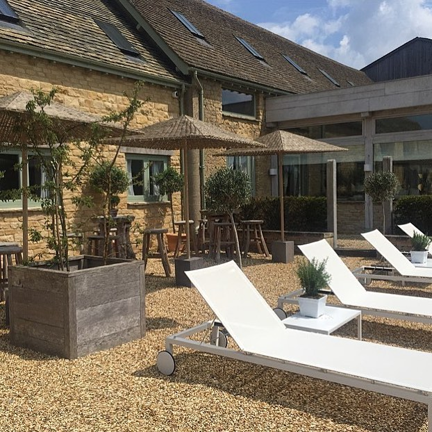 The perfect spot to enjoy a sunny day @bamfordhaybarnspa #holistic #wellness #cotswolds #spa @daylesfordfarm