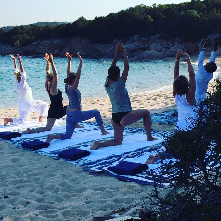 Evening yoga/meditation on the beach with Vettri #meditation #wellbeing #yoga #haybarnwellness