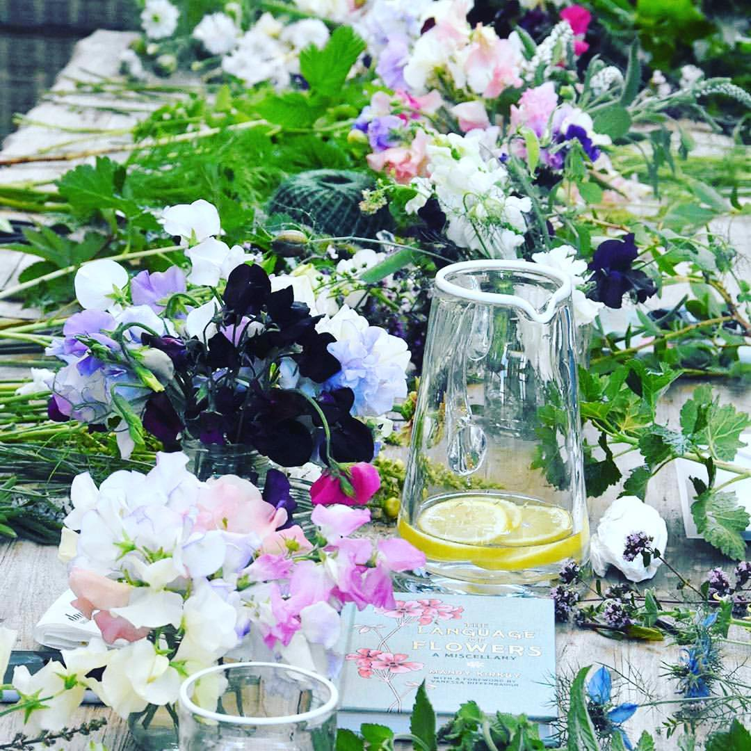 Cut flowers from the market garden @daylesfordfarm getting ready for a floristry course. Love our white tipped glasses from the home range #cotswolds #englishflowers #organic