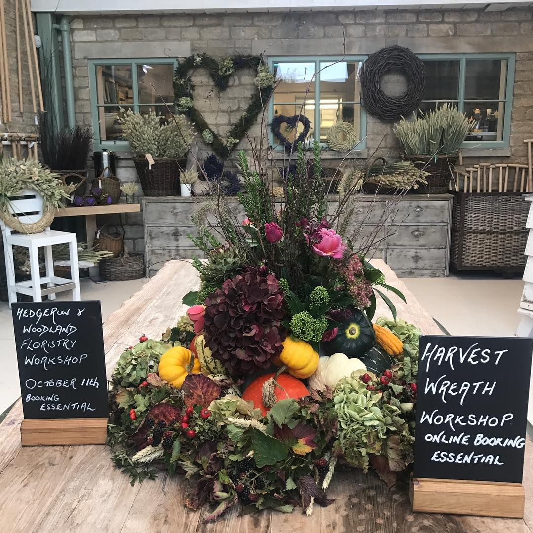 Harvest wreath making @daylesfordfarm #cotswolds