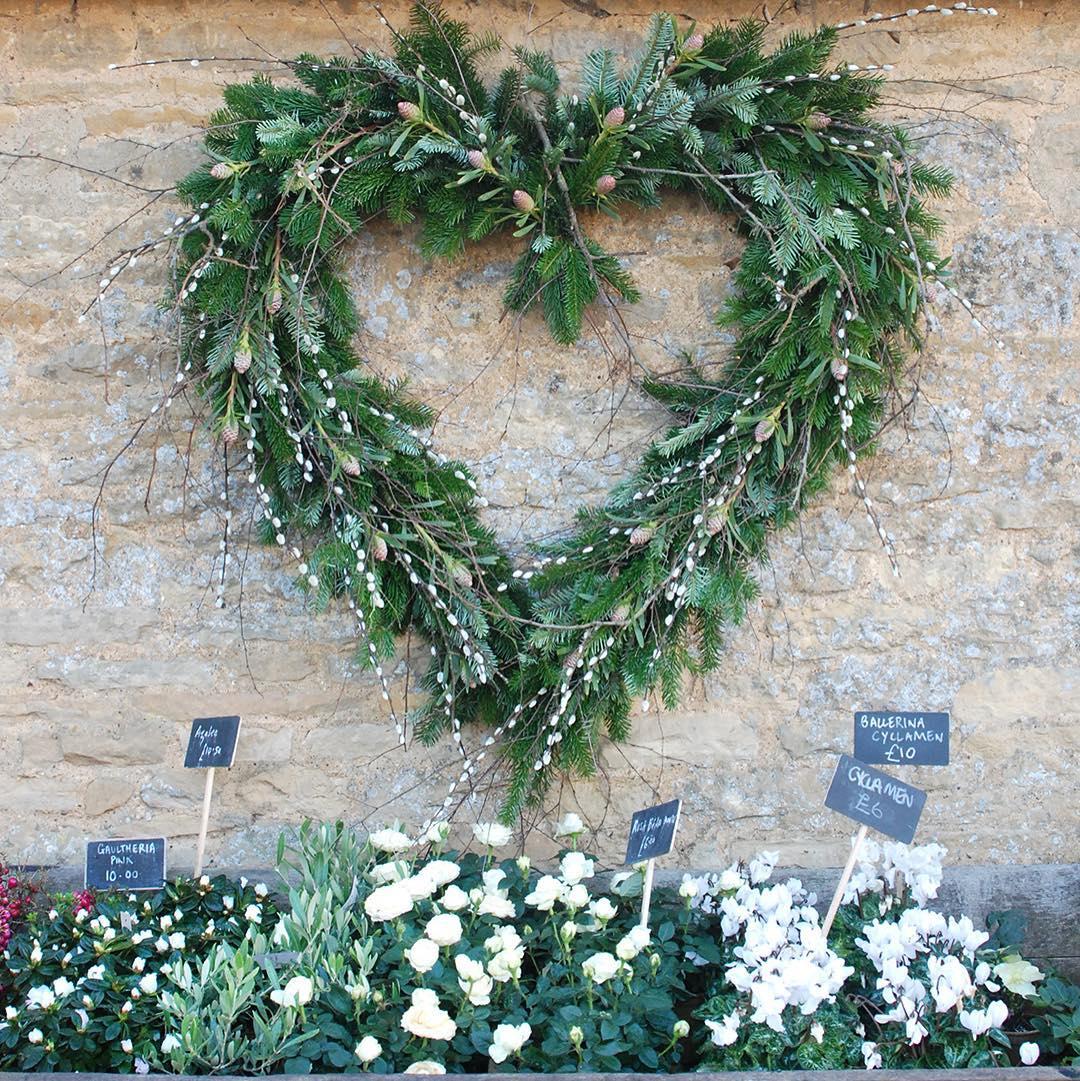 Beautiful wreaths at @daylesfordfarm. Looking forward to our December wreath making workshops in the Daylesford Garden Shop #wreath #floristry #DaylesfordGarden #winter #forage #home