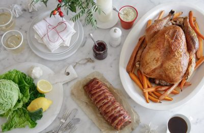 Roast turkey on the table for chtistimas